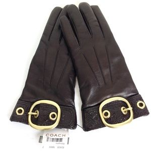 Coach Brown Leather Driving Gloves -N659